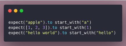 Code snippet of examples using start_with matcher