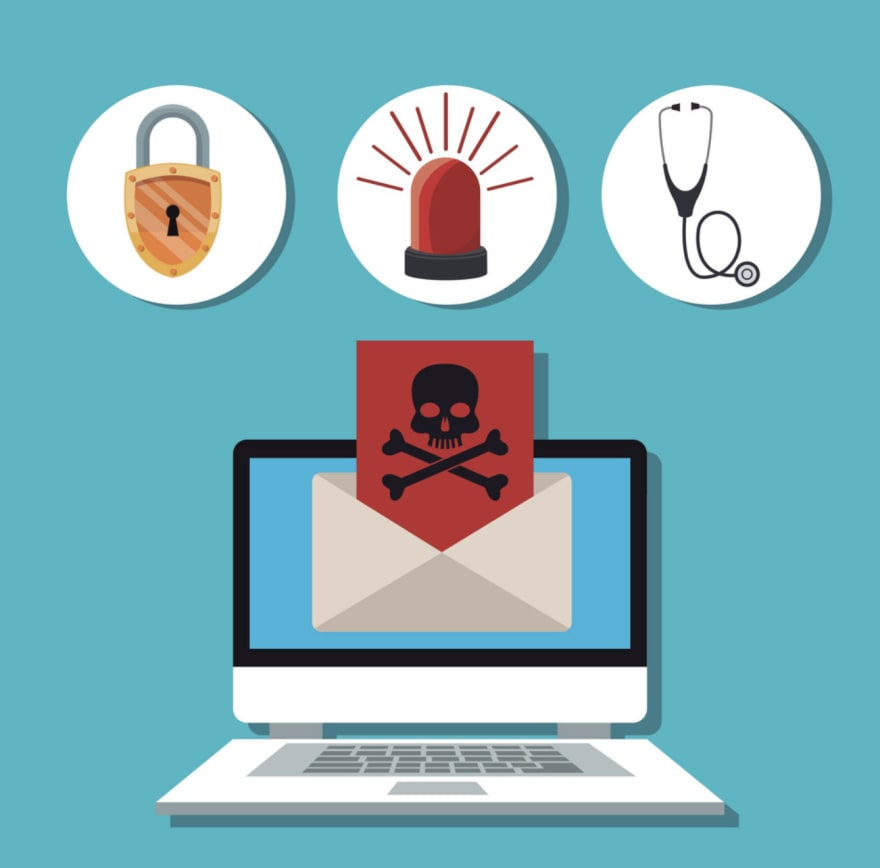 Alt Text: A colorful drawing that consists of three circles at the top and a computer under them. The first circle shows a lock, the second a red alarm, the third a stethoscope. The computer monitor shows an open envelope, a red letter is poking out with an image of a skull and crossbones in black