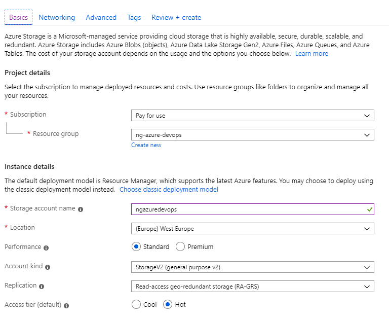 Creating Azure Storage Account