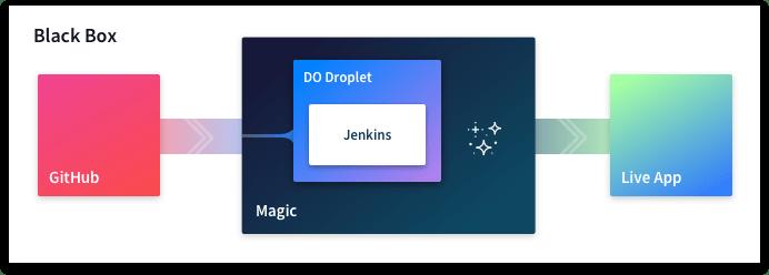 Black box diagram with Digital Ocean Droplet and Jenkins