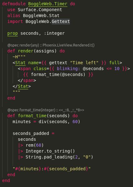 Code for the Timer component