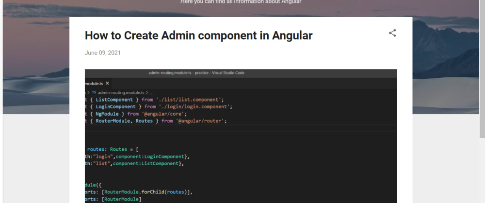 Cover image for Create a Admin Module in Angular