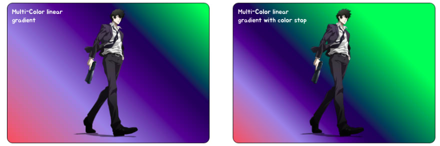 CSS Gradients Example -Multi colored gradients