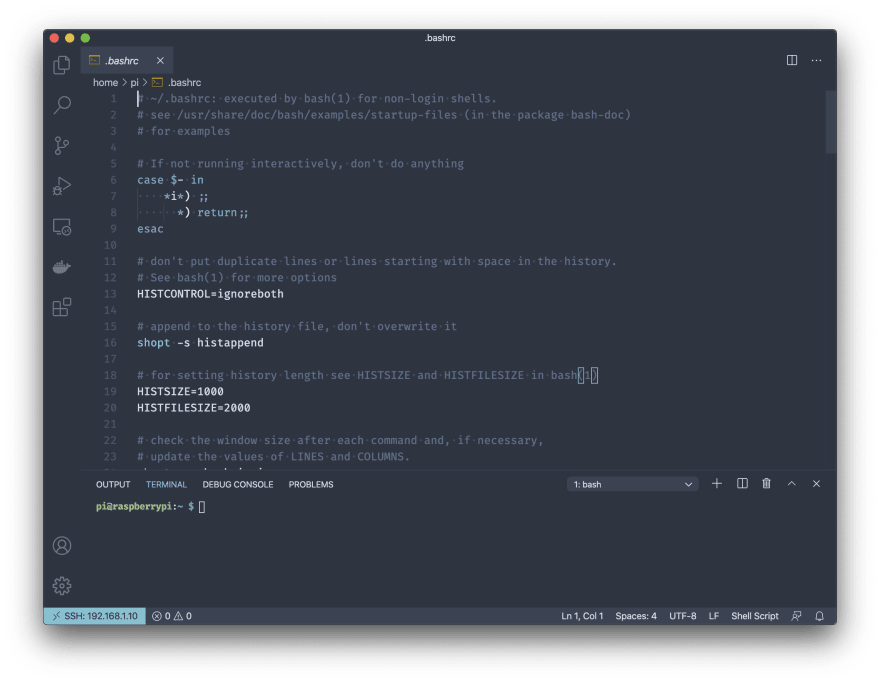Remote - SSH editing a file on the server using VS Code Remote