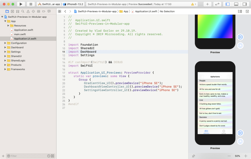Application level SwiftUI previews