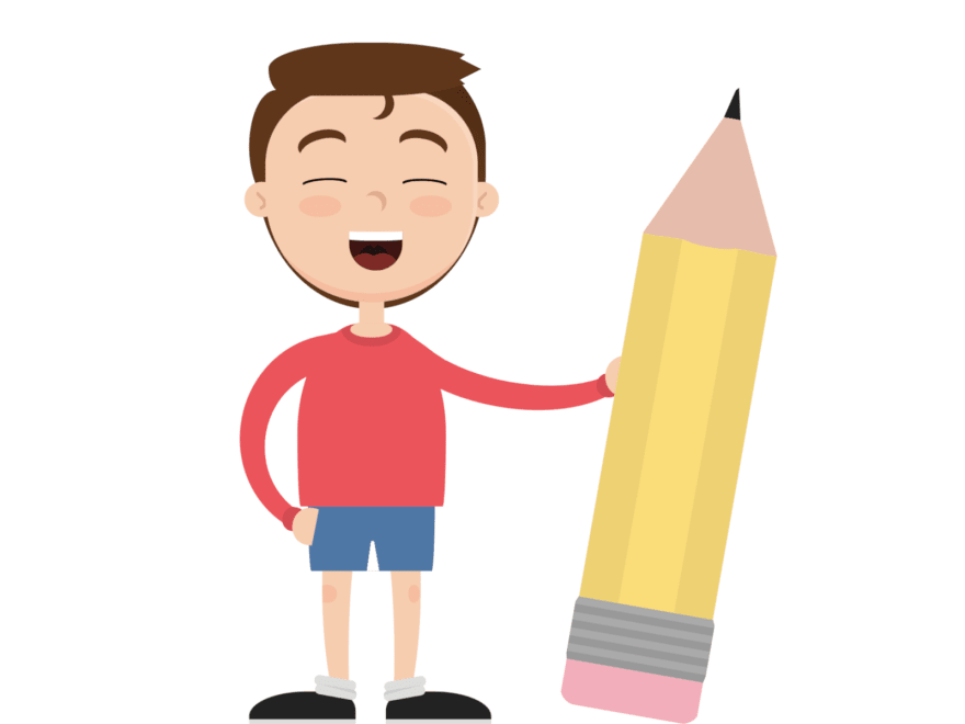 Cartoon of a boy smiling while holding a giant pencil