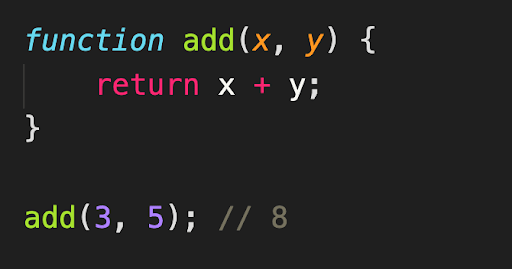 Pure function that returns the sum of two given parameters