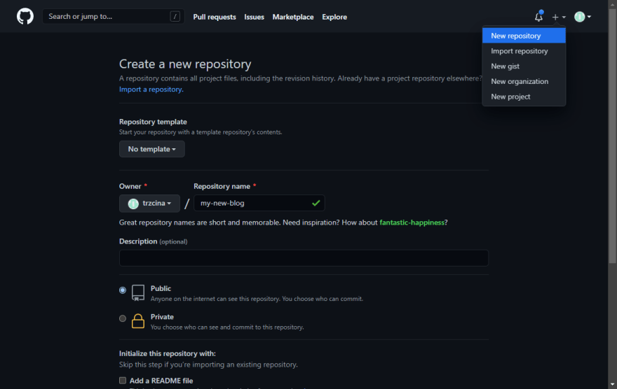 Create an empty repository for your project