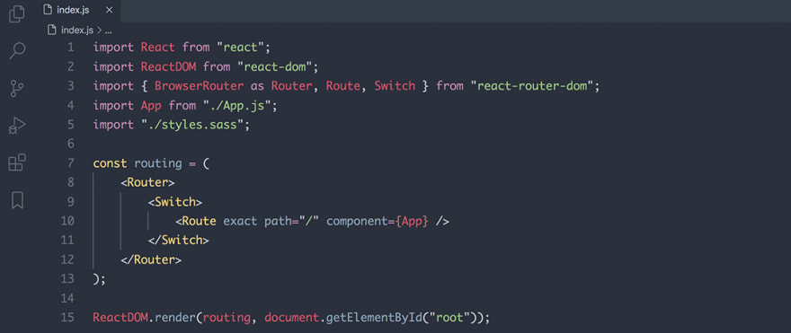 React code snippet with the Base16 - Dark Ocean theme