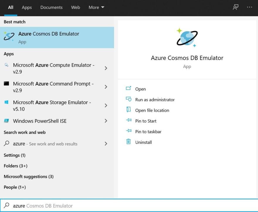 Starting Azure Cosmos DB Emulator