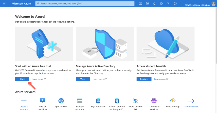 Azure Subscription Trial Page
