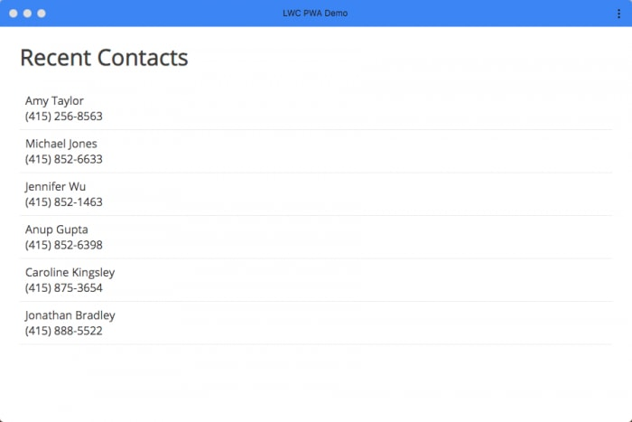 Simple list of contacts