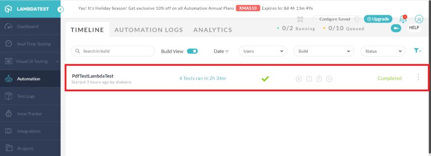 Automation tab