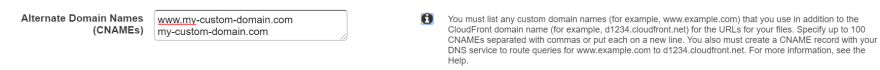Add all your domain names to CloudFront distribution settings