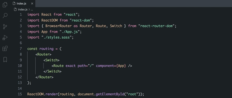 React code snippet with the Base16 - Dark Ashes theme