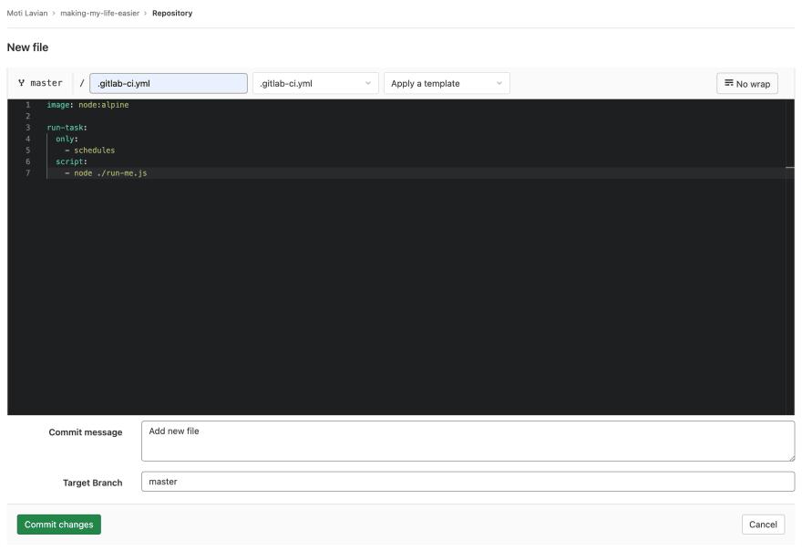 Creating a new`.gitlab-ci.yml` file on gitlab.com