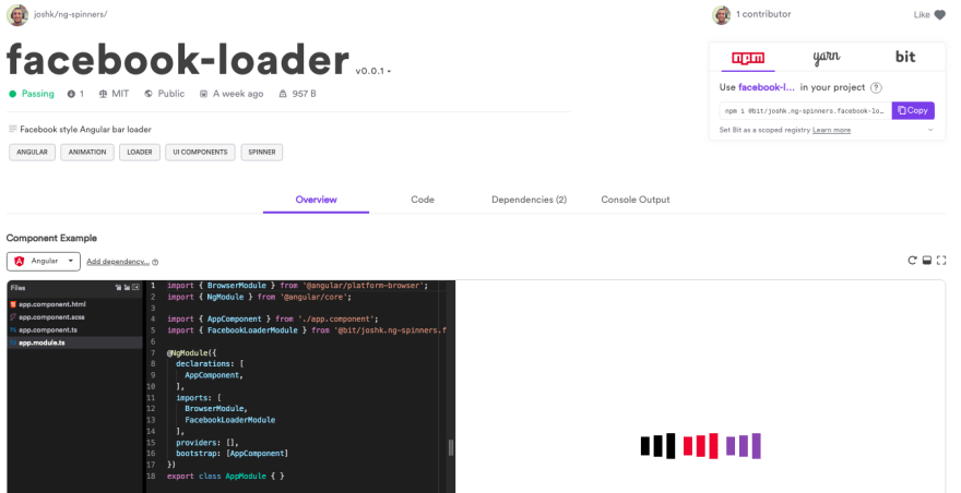 A loader component shared in bit.dev: view, play and use in new projects