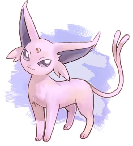 A cute drawing of an Espeon
