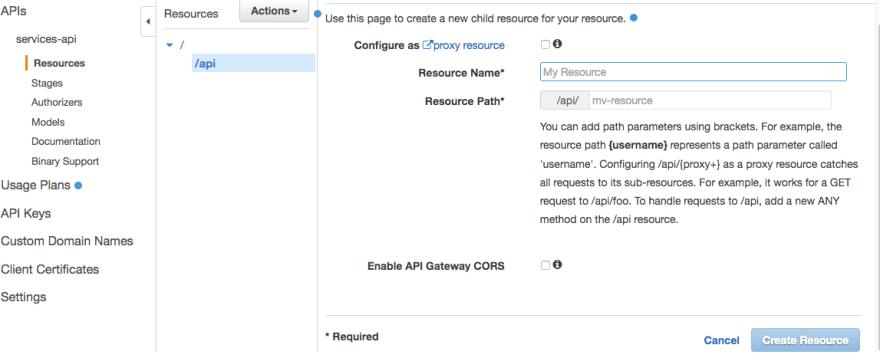 create API Gateway resource menu