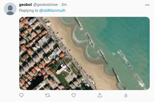 The TwitterBot showing a location