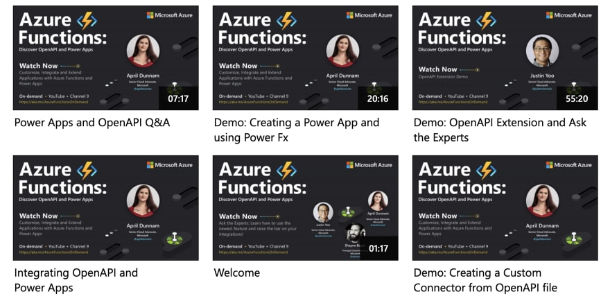 Image shows 6 speaker cards for the 6 sessions from the Azure Functions event, each linked to a video for replay