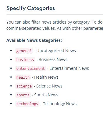 mediastack allowed categories