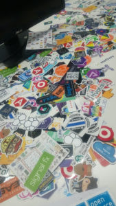 Array of various technology stickers