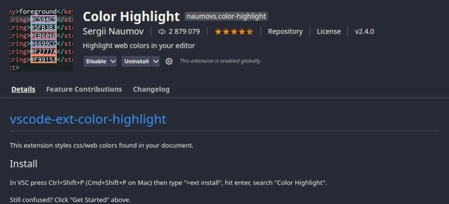 color highlight no vscode
