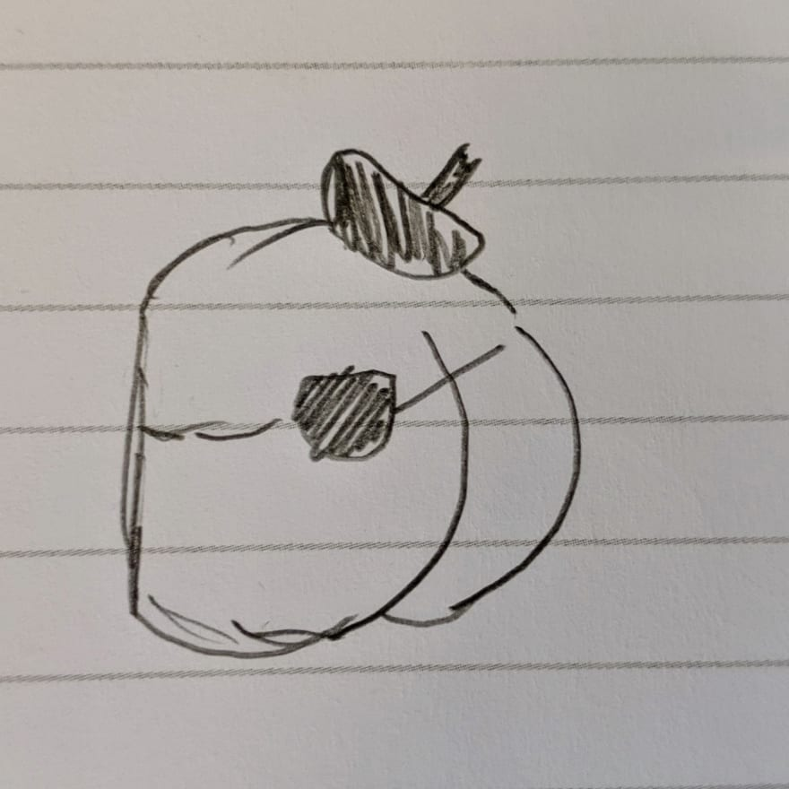 A drawing of a butt wearing an eyepatch, and a beret.