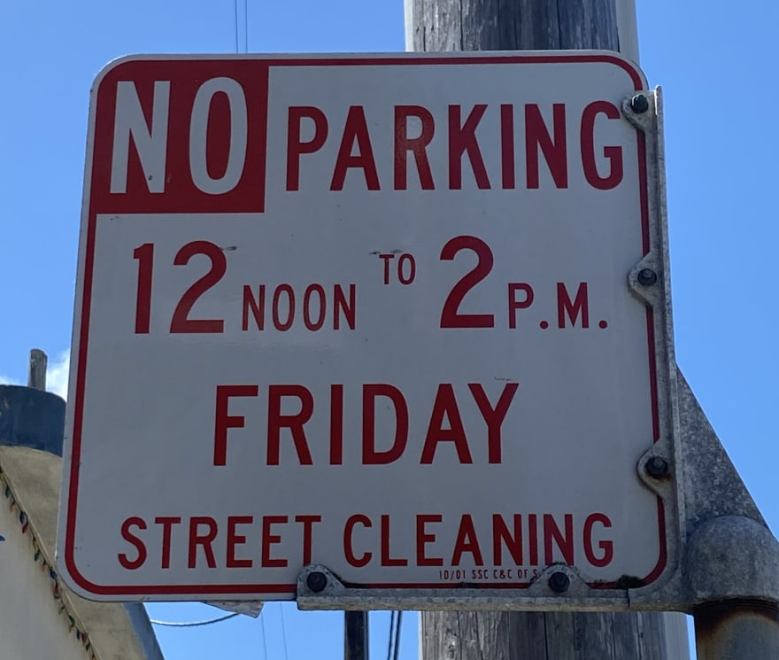 Example street cleaning sign
