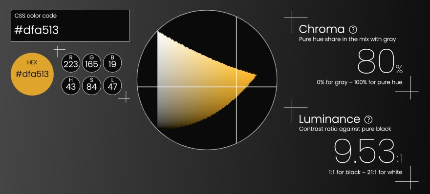 Triangulum Color Picker's user interface, showing the color code of #dfa513