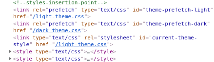 Style tags after pre-fetches stylesheets.