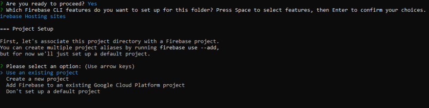 Firebase - New Project, console screen 3.