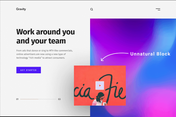 Landing page pointing to block in the middle of the screen