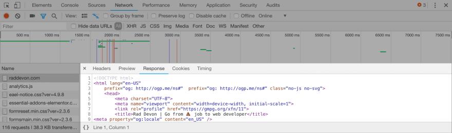 Responses in Chrome developer tools