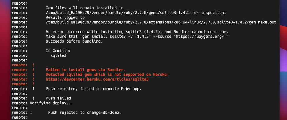 """Cover image for Fixing """"sqlite3 gem which is not supported on Heroku"""""""