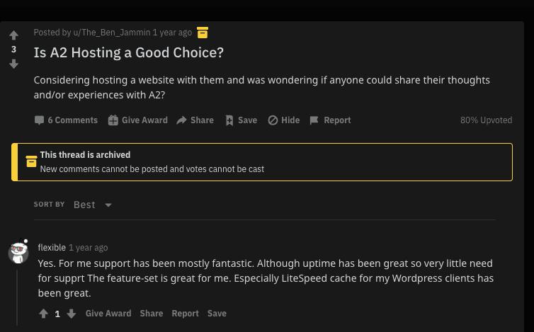 a2 hosting reddit opinion