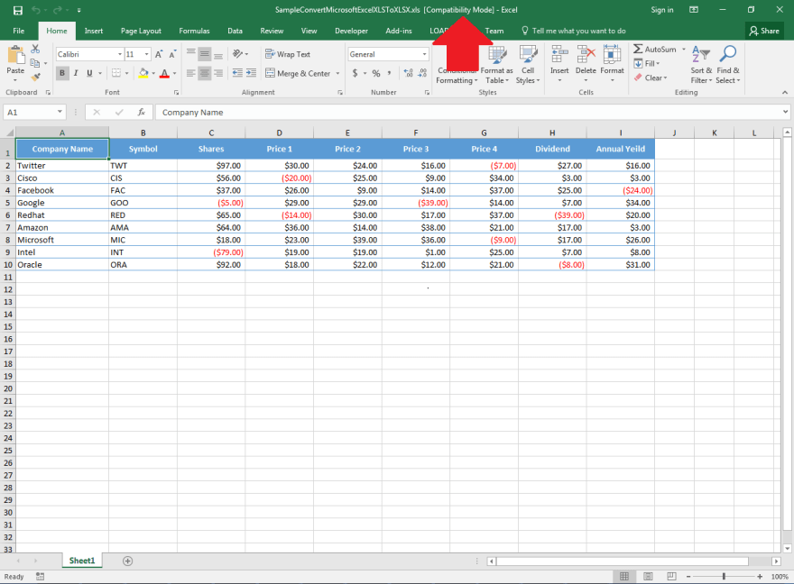 Sample Microsoft Excel XLS document to be converted to XLSX format using Aspose.Cells API.