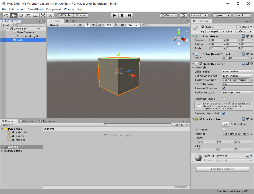 Unity Editor with a scene containing a cube