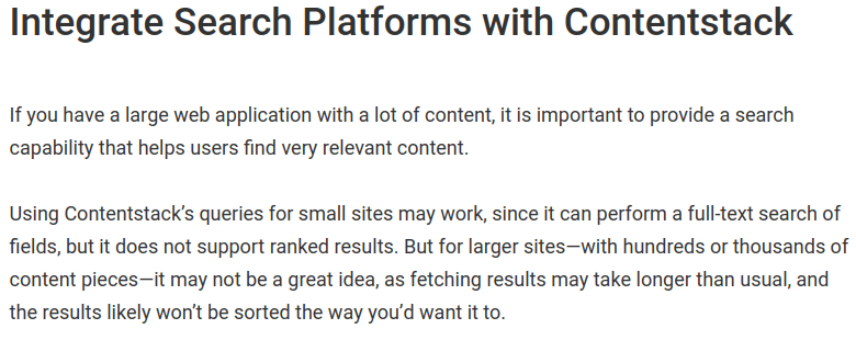 Contentstack asks to use other services for search