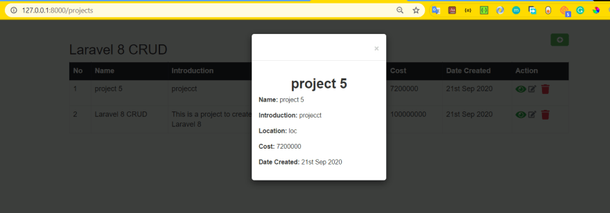 small modal view