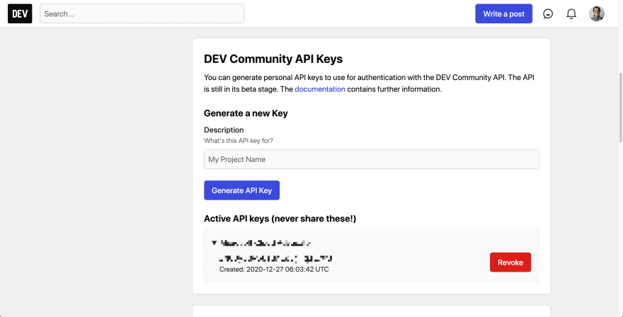 Dev.To API Key