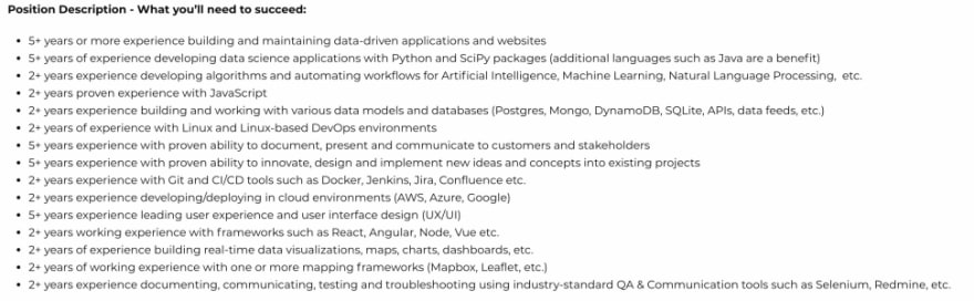 The number of requirements in this job description can be reminiscent of UI Developer jobs
