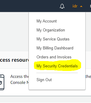 CloudFront My Security Credentials