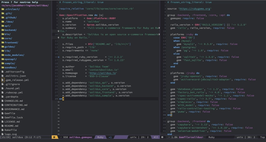 Screenshot of Spacemacs!