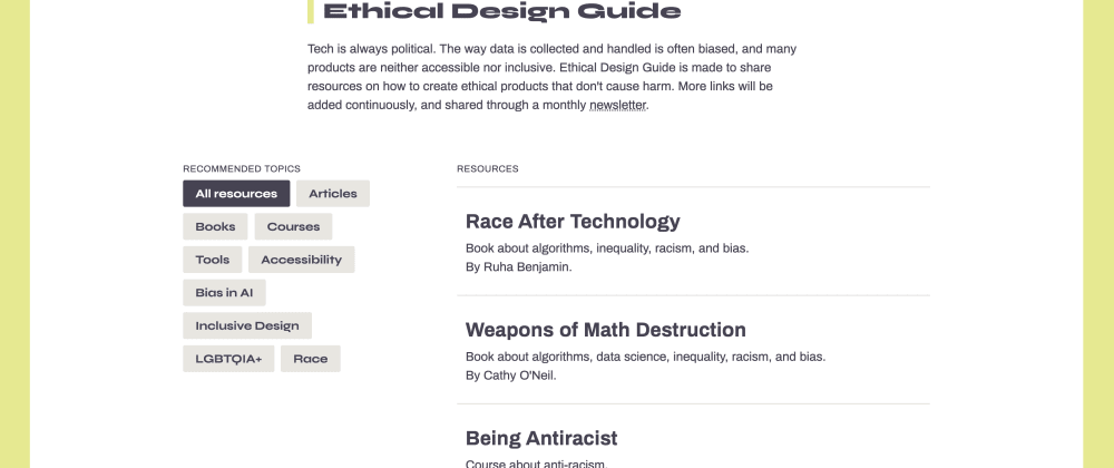 Cover image for I launched a directory with ethical design resources