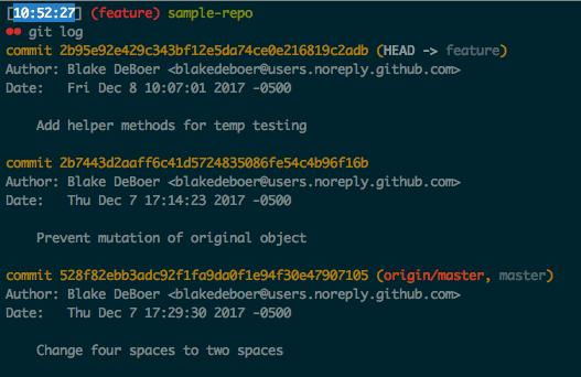 Git log after interactive rebase