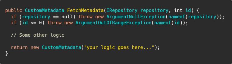 Argument validation using the nameof operator