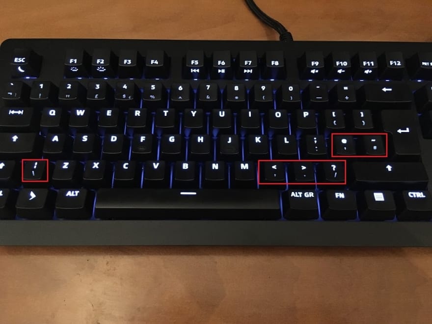 Photo of the Prime 13 keyboard with buggy UK layout