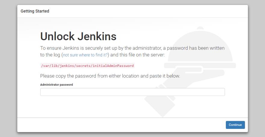 Unlock Jenkins screen